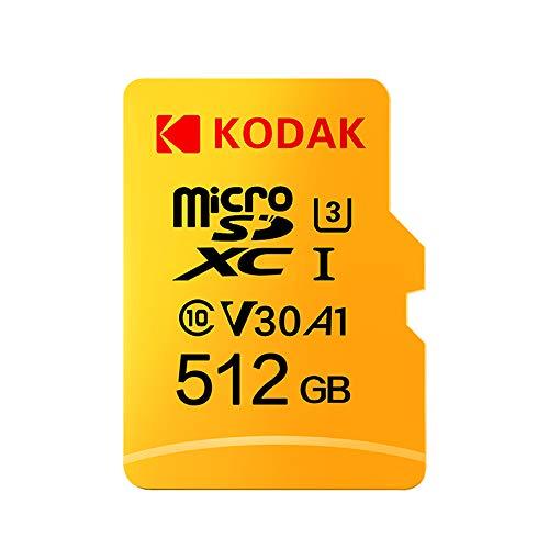 Docooler Kodak Tarjeta Micro SD de 512 GB TF Tarjeta de Memoria U3 A1 V30 100 MB/s 4 K