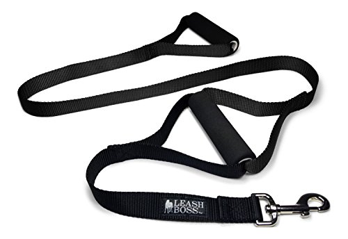 Leashboss Original - Heavy Duty Two Handle Dog Leash for Large Dogs - No Pull Double Handle Training Lead for Walking Big Dogs (Black)