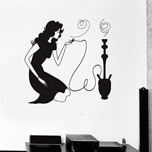 Woman Smoking Hookah Shisha Arabic Smoke Cafe Removable Vinyl Wall Stickers Shop Window Decoration56x57cm