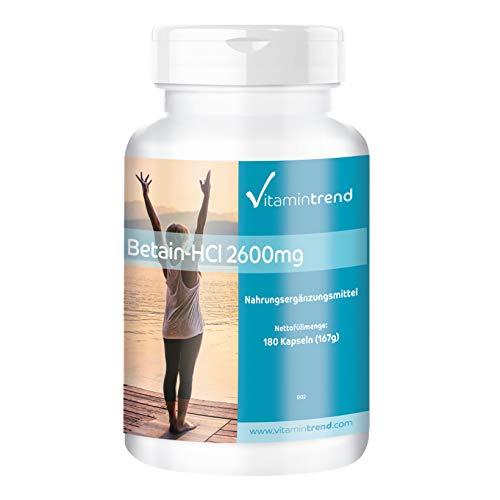 Betaina HCl 2600mg - 180 cápsulas - vegano - dosis alta