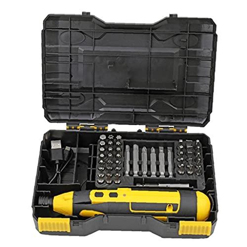 YepYes Destornillador eléctrico 4V Destornillador inalámbrico USB Taladro Recharagable carburo con Caja de Cable Amarillo