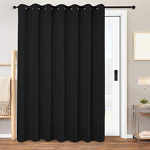 Vangao Blackout Room Divider Curtains for Bedroom Living Room Glasss Door Extra Wide Thermal Insulated Grommet Top Triple Weave Drapes,W 100 x L 84 inch(8'4' x 7') 1 Panel Black