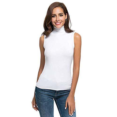 QingJiu Damen Tops Ärmelloses Festes Schlank geschnittenes Damen Unterhemd Rollkragen T Shirt mit Spitzenbluse Weste (L(EU 38), Weiß)