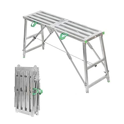 Escalera Andamios Plegables Aluminio, Andamio MultifuncióN Plataforma De Trabajo, Usado Para Andamios Para La Construccion, Puede Soportar 500 Kg (plata*160X30CM)