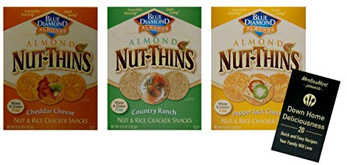 Blue Diamond Almond Nut Thins Rice Crackers | Wheat-Free | Gluten Free | 3 Flavor Variety (1) each: Cheddar, Country Ranch, Pepper Jack Cheese (4.25 Ounces) Plus Recipe Booklet Bundle