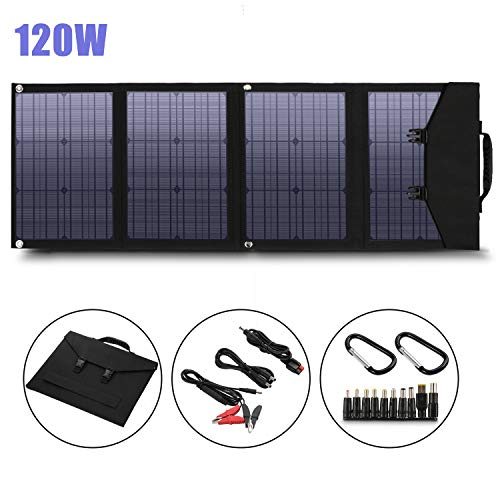 Solar Panel Foldable 120W Solar Panel Charger for Suaoki/Enkeeo/Goal Zero Yeti/Webetop/Paxcess/ROCKPALS Power Station Generator and Laptop Tablet GPS iPhone iPad Camera
