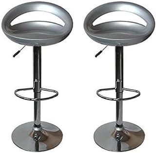 La Silla Española - Pack de dos taburetes con asiento redondo en color gris, en PVC, regulable en altura 47x44x97 cm