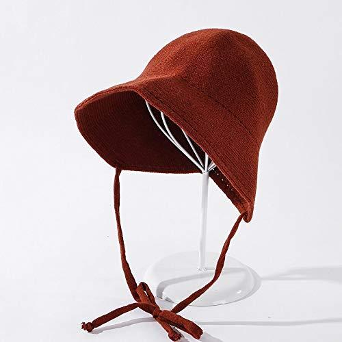 FEIYI Sombrero de punto de color otoñal con forma de cúpula de lana mezclada para mujer cálido atado lavabo sombrero de moda niña sombrero de punto (color: rojo vino)