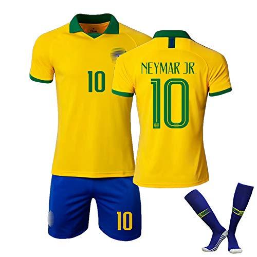 ZYWCXM Jersey de fútbol, 2019-2020 Brasil Traje de fútbol, Neymar Coutinho Firmino Jersey, Uniforme de fútbol Personalizable, Secado rápido y Transpirable NO.10-26