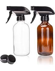 Hengory Spray Fles 250/500ML Glas Spray Fles 2 Pack, Boston Amber Shading Fles, Hydraterende Spray Container, Trigger Sprayer, Vloeibare Refill/Vervanging Fles (Amber + Transparant, 500ml)