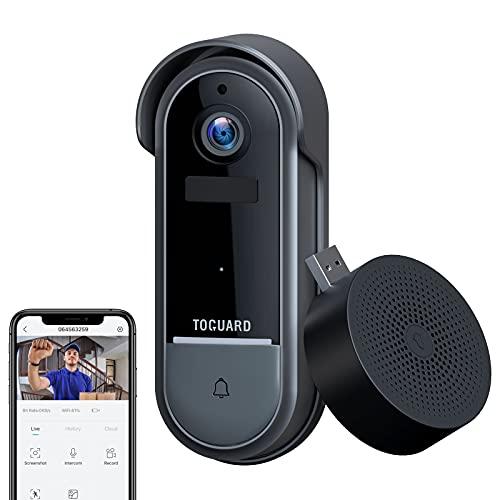 Toguard Video Türklingel mit Kamera, FHD1080P Smart WLAN Türklingel Kamera Drahtlos Ring Video Doorbell mit Nachtsicht, Zwei-Wege-Audio, Bewegungserkennung, IP65 Wasserdicht, Einfache Installation