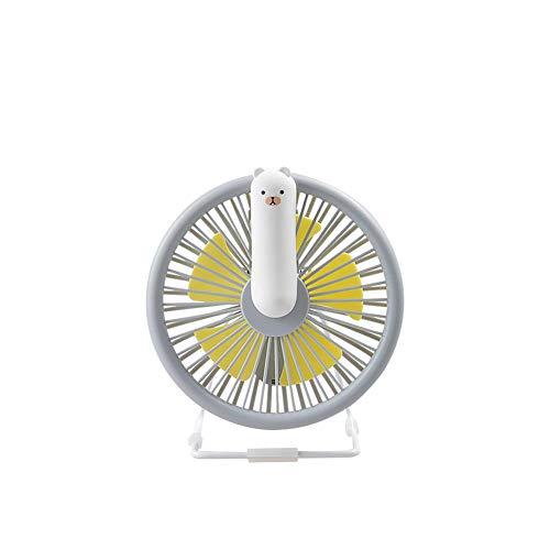 Rayber Mini dispositivo de respiración USB, color gris, abs USB, ventilador con luz, pequeño, 5 cuchillas, ajuste multiángulo, para casa, escritorio, dormitorio, etc.