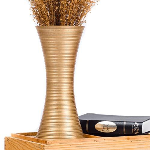 Leewadee Kleine Bodenvase für Dekozweige hohe Standvase Design Holzvase, 15x41 cm, Mangoholz, Gold