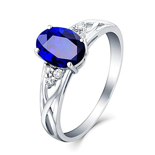 Adokiss Jewellery 18 carat ring, cross stripes with oval sapphire 0.41/1/1.4/2.22 ct wedding ring, women's rings, engagement, white gold, birthday gifts. 1.4ct