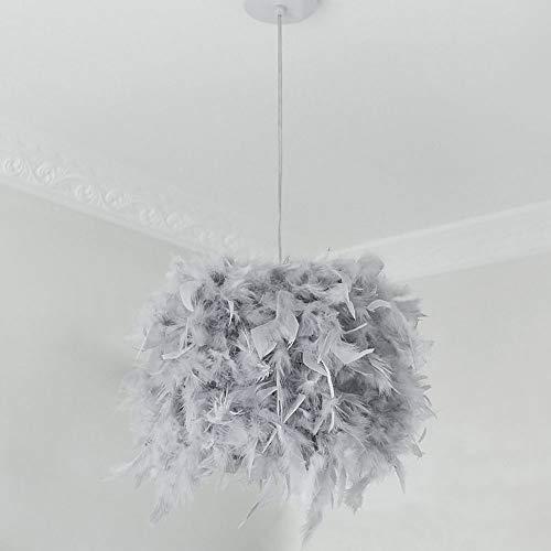 Feder Pendelleuchte, Moderne Hängelampe, Kreative Deckenlampe mit E27 LED, Ø 20 cm Hängeleuchte mit 100cm Kabel, Kronleuchter für Wohnzimmer Esssaal Schlafzimmer (grau)