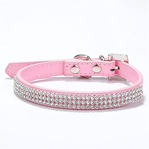 DHZYY Collar de Gato, Collar de Perros, Perros de Cuero for Perros de Perros Perrito de Gato Collar de imbécil for pequeños Perros medianos Gatos Chihuahua (Color : Pink, Size : X-Small)