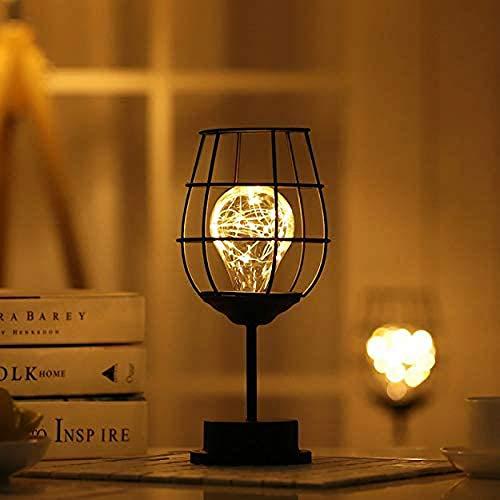 Ulalaza Svart metalltråd bordslampa modern järnkorg bur stil nattlampa retro sängbord skrivbord stativ lampor nattduksbord för sovrum vardagsrum