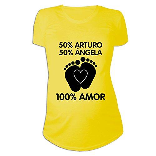 Regalo Personalizable para Mujeres Embarazadas: Camiseta 'porcentajes' Personalizada con los Nombres de la Madre y del Padre del bebé