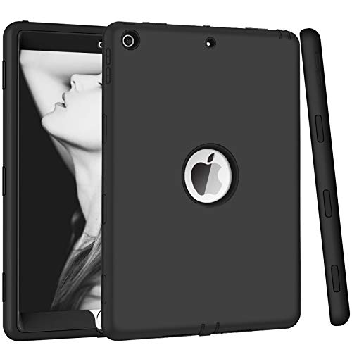 Hocase iPad 8th/7th Generation Case, iPad 10.2 2019/2020 Case, Heavy Duty Shockproof Soft Silicone Rubber Bumper+Hard Plastic Hybrid Dual Layer Protective Case for iPad 8th/7th Generation - Black