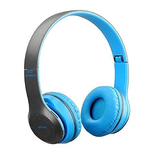 BRANDIING Cuffie Bluetooth P47 5.0 + EDR Wireless Uomo Donna, Riduzione Rumore, Leggero, Jack audio 3,5mm, Pieghevoli,Smartphone/Cellullari/PC Compatibile Android IOS Blu Lezioni online MP3 Micro SD