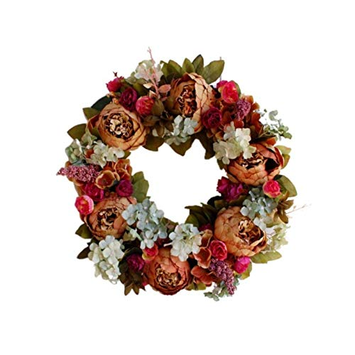 Christmas Thanksgiving Autumn Color Garland Window Restaurant Home Maple Leaf Decoration Ornaments Holiday Pendant Wreath Thanksgiving Decorations (Color : 40cm)