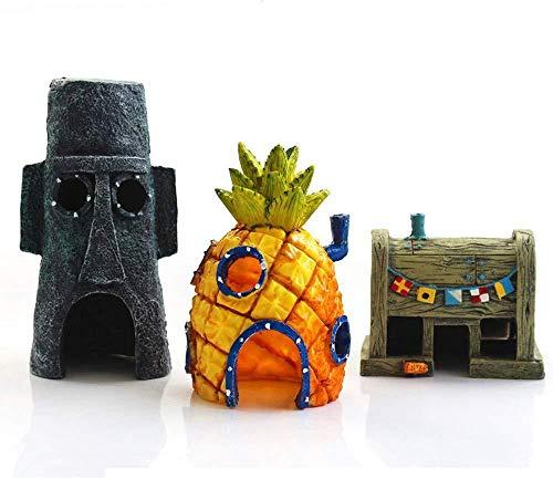 XIAOYY Spongebob Petite Maison Ananas Objet d'Ornement ,Bob l'éponge décorative pour Aquarium(Ensemble Multi-pièces résine Ornements pour Aquarium Thème Bob l'éponge @3pcs