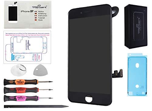Trop Saint Pantalla Negro para iPhone 8 Plus Completa Premium Kit de reparación LCD con Guía, Herramientas y Pegatina Adhesiva Impermeable
