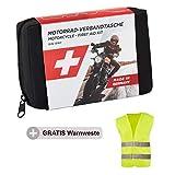GoLab ® Motorrad Erste Hilfe Set - klein und kompakt, Verbandtasche nach DIN 13167 mit Warnweste für alle europäischen Länder geeignet (Österreich, Schweiz, Italien, Deutschland usw.)