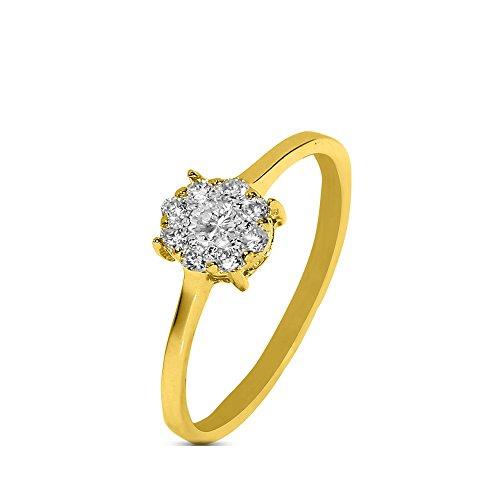 silvernshine Jewels 0,15cts Rundschliff SIM Diamant Verlobungsring Ehering in 14kt Gelb Gold pl