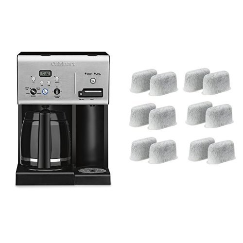 Cuisinart CHW-12 Coffee Plus 12-Cup Programmable Coffeemaker with Hot Water System, Black/Stainless and Everyday 12-Pack Replacement Charcoal Water Filters for Cuisinart Coffee Machines Bundle