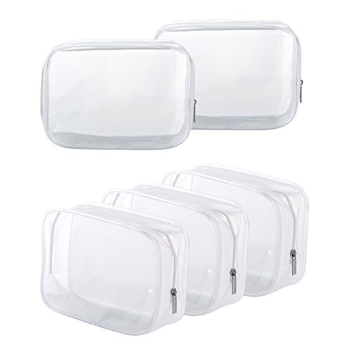 5 Pack Clear PVC Zippered Toiletry Carry Pouch Portable Cosmetic Makeup Bag for Vacation, Bathroom and Organizing (Small, White)