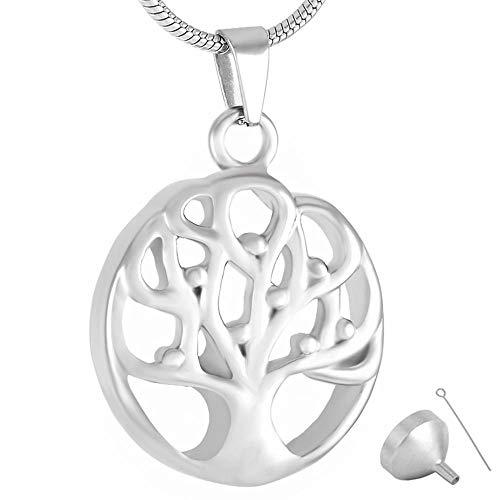 FRDXDAF Collar De Hombre con Urna De Cenizas Colgante De Árbol De La Vida De La Genealogía, Collar De Urna Conmemorativa, Collar De Urna, Colgante De Recuerdo De Cenizas