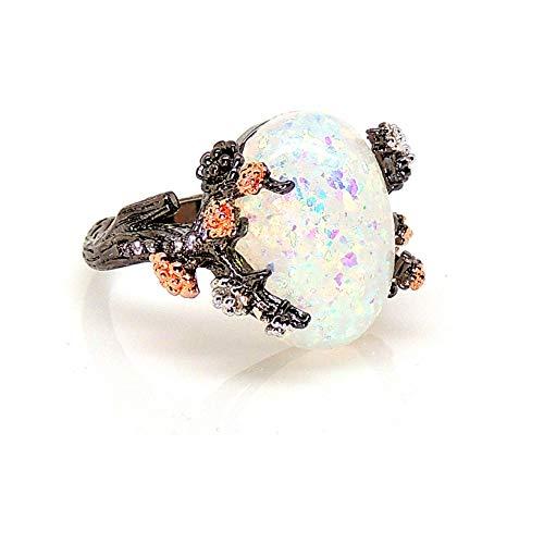 Ginger Lyne Collection Henrietta Tree Branch Elven Fairy Flower Simulated Fire Opal Ring Engagement Ring for Women Promise Rings Kids Teen Girls