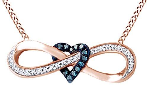 Cyber Monday Offerte - Collana con ciondolo a forma di cuore con ciondolo a forma di cuore in oro massiccio 10 carati (0,25 cttw) e 10ct oro bianco, colore: bianco, cod. UK-M-CSP-RJ10091-WG