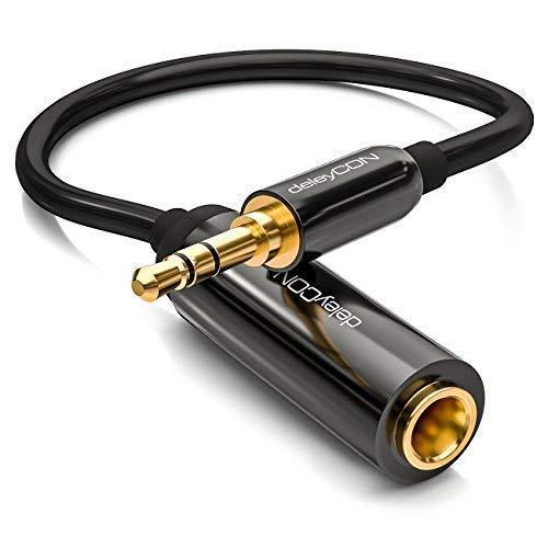 deleyCON 1x 0,2m Stereo Audio Klinken Adapter Kabel - 3,5mm Klinken Stecker zu 6,3mm Klinken Buchse - Vergoldete Klinke Stecker und Buchse - Schwarz