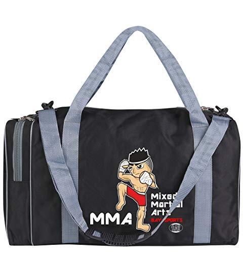 BAY-Sports Sporttasche MMA, Mixed Martial Arts, Kinder Kids small klein Taschen Bag, schwarz grau, Trainingstaschen Sporttaschen Thaiboxtasche