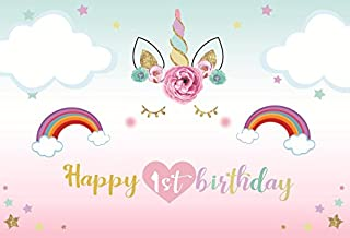 Laeacco Cute Unicorn Head with Flowers Photography Background 5x3ft Smilling Face with Eyelash Cute Cloud Sky Cartoon Rainbow Happy 1st Birthday Party Decoration Background