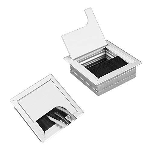 YUE QIN 2 Stück Quadratisch Kabeldurchlass Kabeldurchführung silber 80mm Schreibtischdurchführung aus Aluminium, mit Ösenbürste Kabeldurchlass für Möbel und Schreibtisch