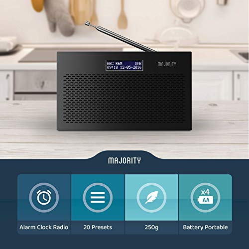Majority Histon II DAB/DAB+ Digital & FM Portable Radio, Dual Alarm Clock, Battery Portable or Mains Powered (Black)