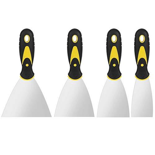 AUXSOUL 4 Piezas de Espátula de Acero Inoxidable Espátulas de Masilla Espátula Pintor Raspadores de Pintura con Mango de Plástico Cuchillo de llenado para Paneles de Yeso, Masilla, Parches y Pintura