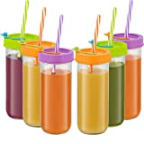 Glass Drinking Bottle Travel Drinking Jars 6 Pack, 16oz Mason Jars Regular Mouth Beverage Bottle with Airtight Lids &Straws, Reusable Water Bottle Skinny Tumbler for Juice/Smoothies,/Kombucha/Tea/Milk