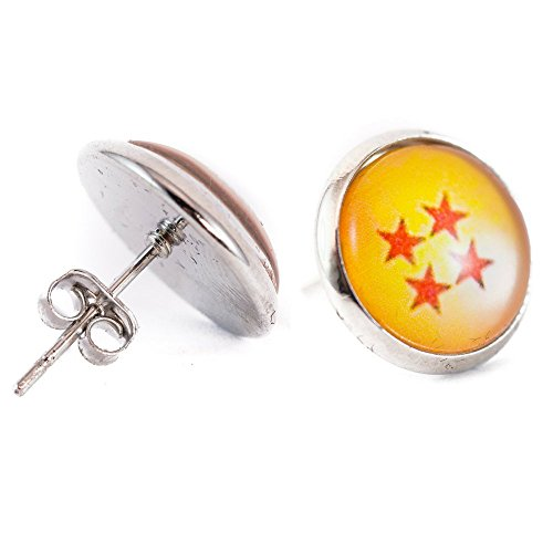Dragon Ball Stud Earrings: Yellow and Red Star Design (Four Star Design)