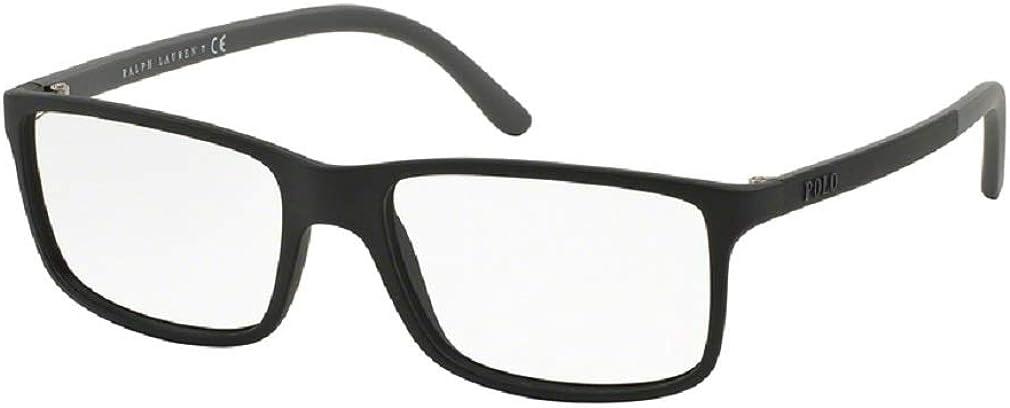 Polo Ralph Lauren PH2126 Rectangle Eyeglasses For Men+FREE Complimentary Eyewear Care Kit (Plain Matte Black, 53)