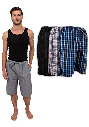 Men's 3 Pack Soft Poplin Woven Pajama & Sleep Jam Cargo Short Lounge Pants