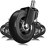 Office Chair Wheels Black Replacement Rubber Chair casters for Hardwood Floors and Carpet, Set of 5, Heavy Duty Office Chair casters for Chairs to Replace Chair mats - Universal fit