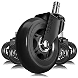 Office Chair Wheels Black Replacement Rubber Chair casters for Hardwood Floors and Carpet, Set of 5, Heavy Duty Office...