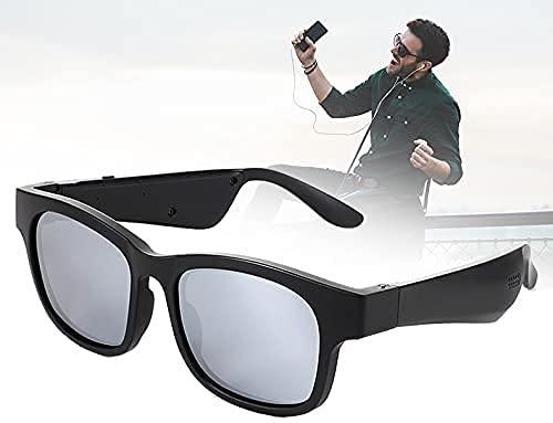 WXFCAS Gafas Inteligentes Bluetooth, UV400 Gafas de Sol de Audio para Hombres y Mujeres Orejeras para Mujer, en Espera 7 días, Asistente de Voz/Escuchar música/contestar teléfono para Ciclismo, p
