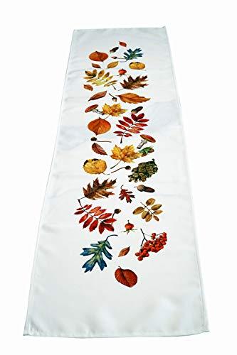 khevga Camino de mesa otoñal, decoración de mesa, diseño de hojas, color blanco, 40 x 140 cm (naranja)