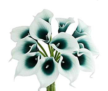 Lifelike Artificial Flowers Real Touch Calla Lily Bouquet Bundle 10 Stems  Picasso Gem Teal
