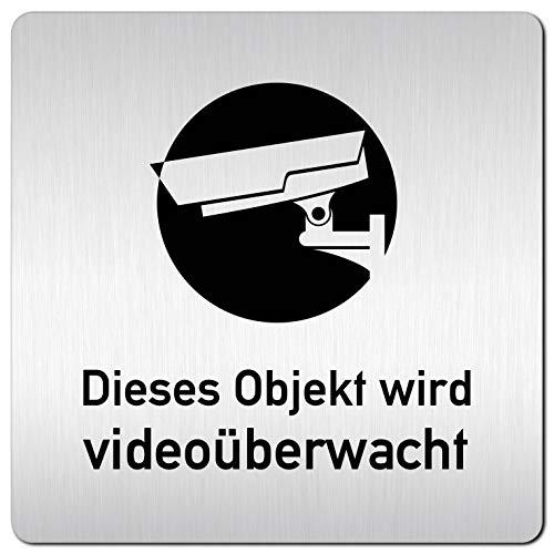 Kinekt3d Leitsysteme XXL Schild - Türschild • 125 x 125 mm • Dieses Objekt Wird Videoüberwacht – Achtung Videoüberwachung 002 • 1,5 mm Aluminium Vollmaterial • 100% Made in Germany